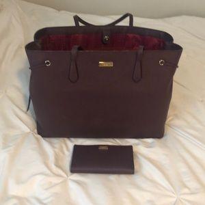 Burgundy Kate spade large tote w/ matching wallet